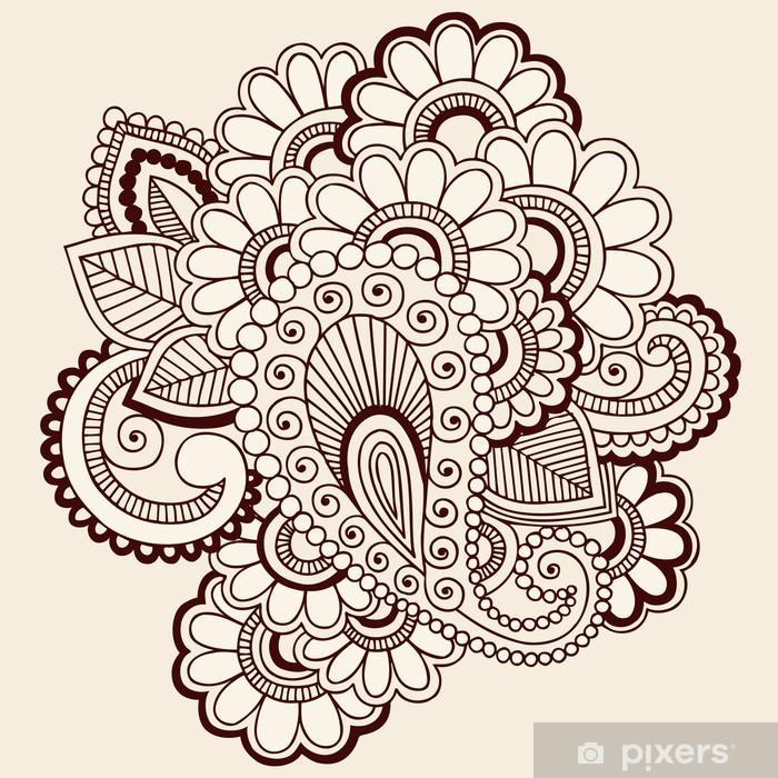 Fiori Vettoriali.Carta Da Parati Doodles Astratto Paisley Henna Disegno Fiori