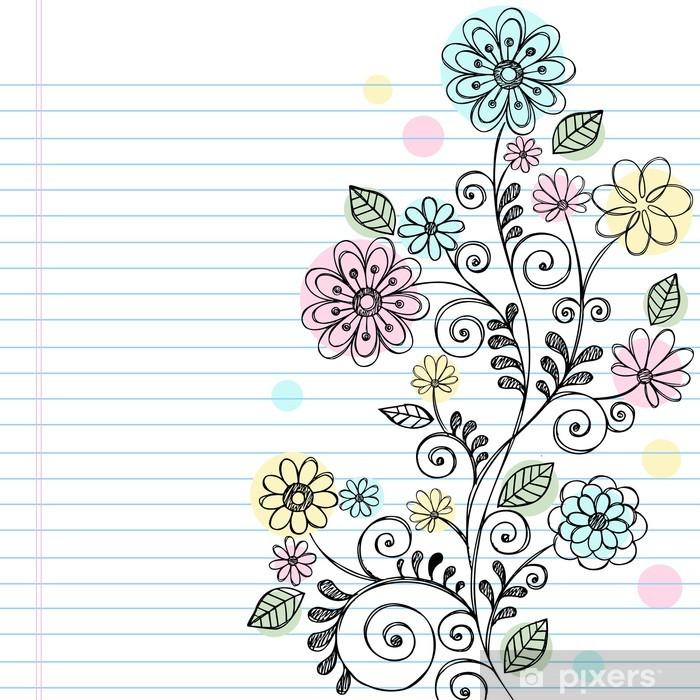 Plakat Szkicowe Doodle Vines i wektor kwiaty - Kwiaty