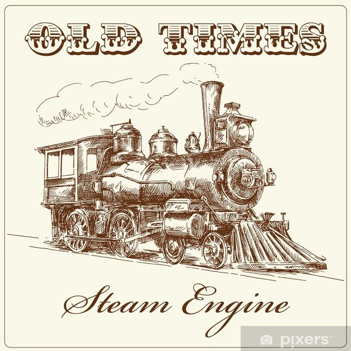 Poster Handgetekende stoomlocomotief - Spoorwegen