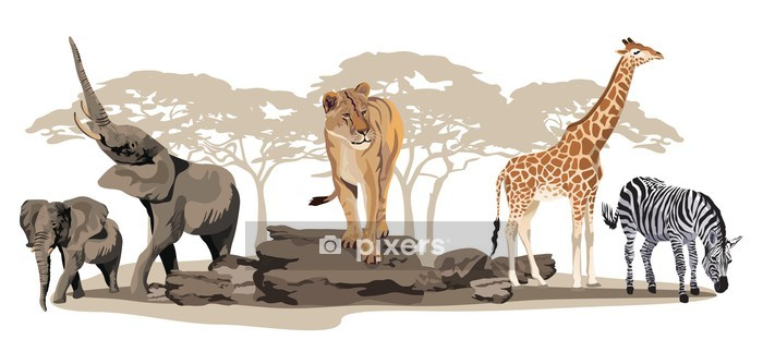 African Animals Wall Decal - Wall decals