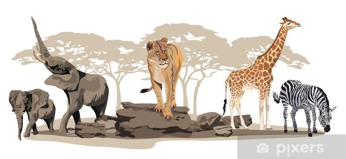 Fototapeta winylowa Afrykańskie zwierzęta - Naklejki na ścianę