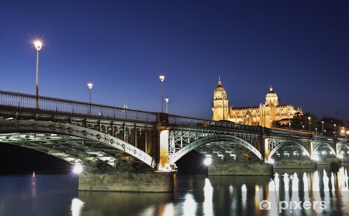 Papier peint vinyle Puente de la sobre el Tormes y Catedral de Salamanca - Europe
