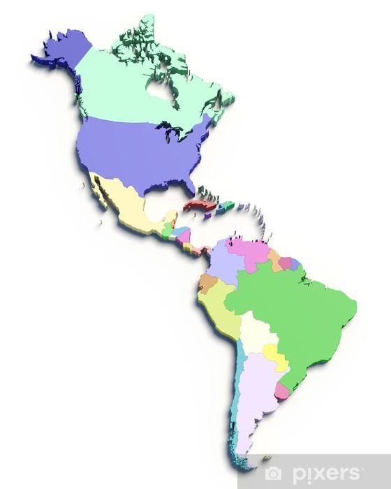 Fotomural Estándar 3d mapa de color del Sur y los países de Norteamérica - Finanzas