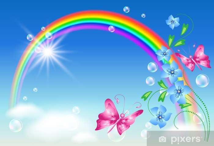 Rainbow in the sky Vinyl Wall Mural - Rainbows