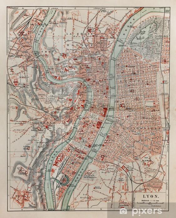 Lyon Karte.Fototapete Vintage Karte Von Lyon