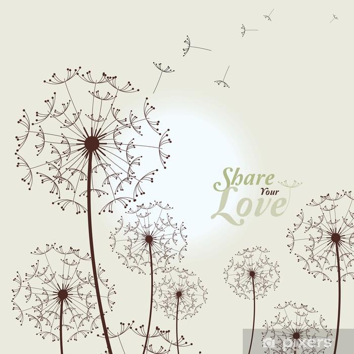 Carta da Parati in Vinile Amore Card Con Dandelions - Temi