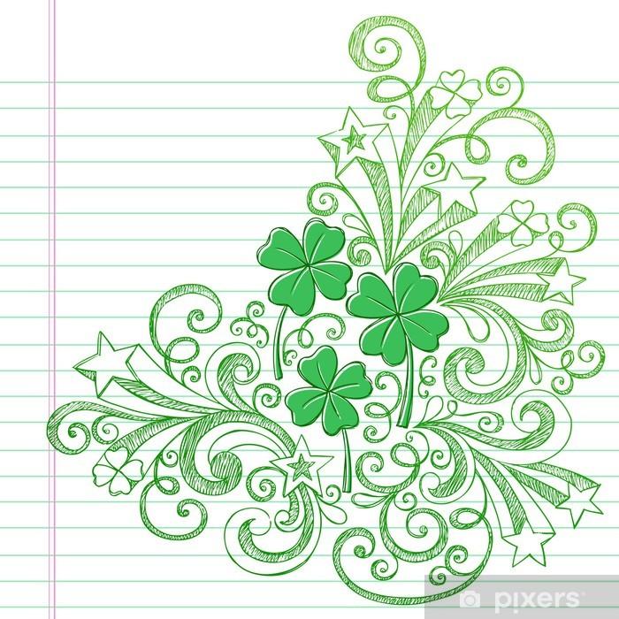 Fototapeta winylowa St Patricks Day Vector Clover Shamrock Doodle - Święta Narodowe