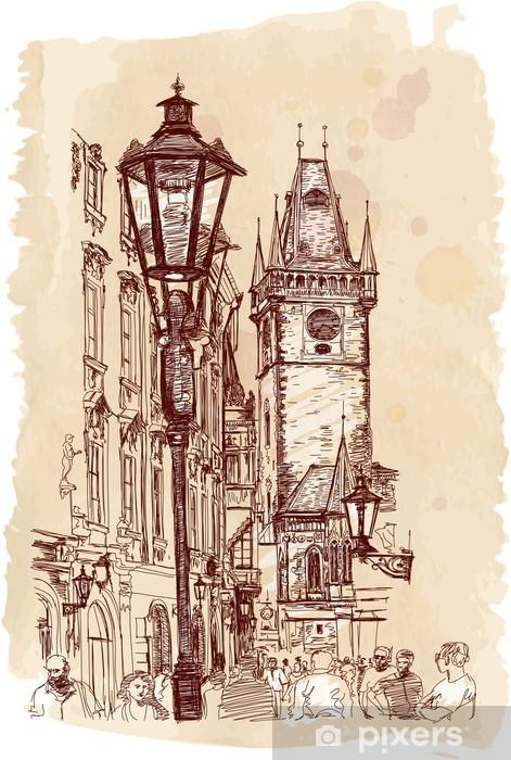 Fotomural Estándar Visión urbana - Praga, República Checa - un croquis - Praga
