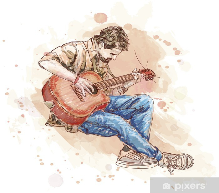 bard with a guitar - vector draw Vinyl Wall Mural - Themes
