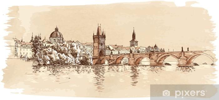 Naklejka Pixerstick Panorama Pragi. Widok z mostu Karola i Wełtawy - Praga