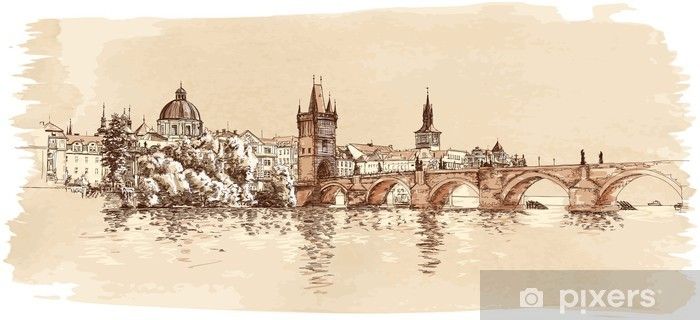 Panorama of Prague. View of Charles Bridge and the Vltava river Vinyl Wall Mural - Prague