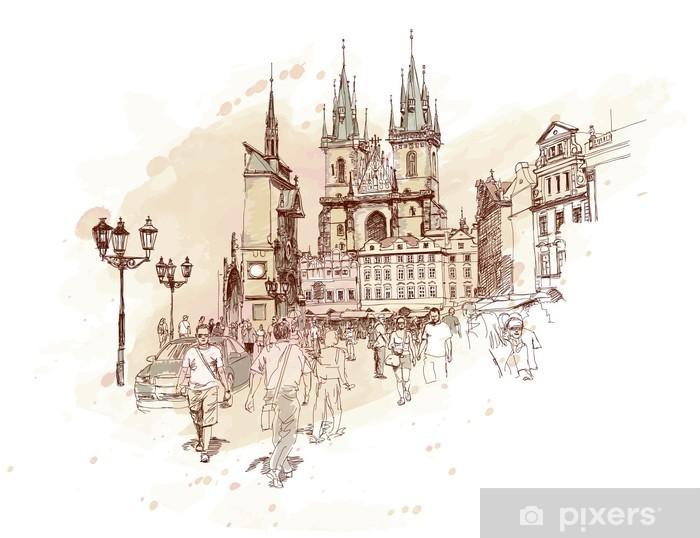 Fotomural Estándar Old Town Square, Praga, República Checa - un dibujo vectorial - Praga