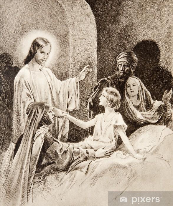 Papier peint vinyle La résurrection de la fille de Jaïre - lithographie ancienne - Thèmes