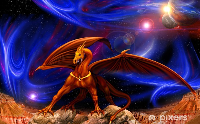 dragon in space Vinyl Wall Mural - Themes