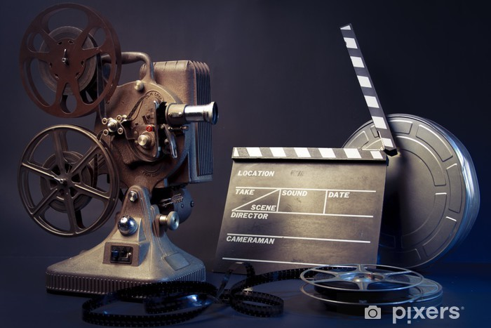 Vinyl Fotobehang Oude filmprojector en film objecten - Thema's