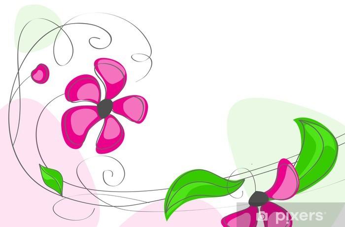 Naklejka Pixerstick Różowe kwiaty na białym tle - Tła