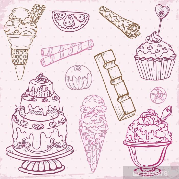 Vinyl-Fototapete Set von Kuchen, Süßigkeiten und Desserts - in Vektor Hand gezeichnet - Feste