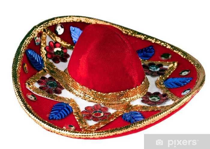 Carta da Parati in Vinile Colorful sombrero messicano isolato su bianco acf7eb5a3cda