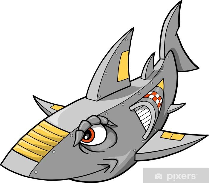 Fototapeta winylowa Cyborg Shark Robot Ilustracja Wektor - Zwierzęta żyjące pod wodą