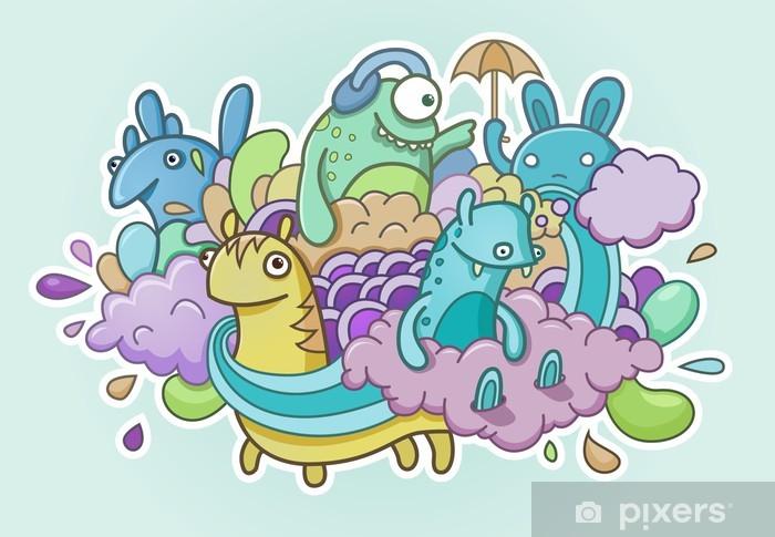 Monsters Doodle Pixerstick Sticker - Backgrounds