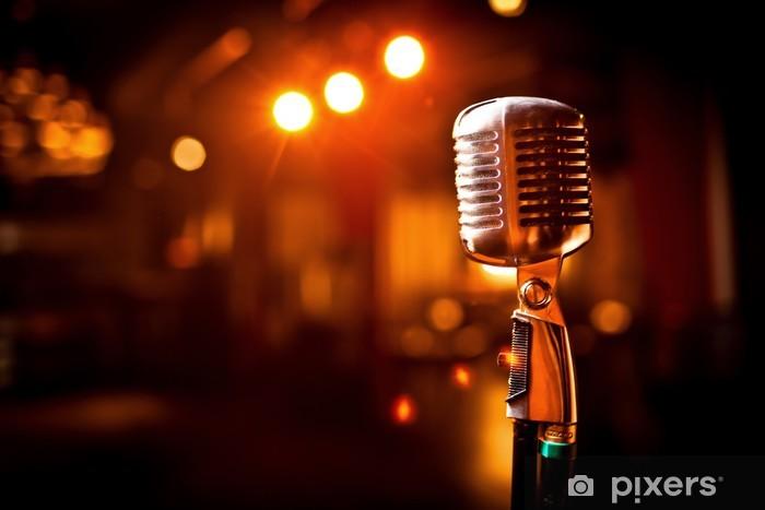 Papier peint vinyle Retro microphone sur scène - Hip hop