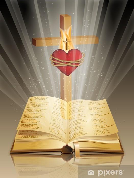 Fototapeta winylowa Pismo Święte z krzyżem i święte serce - Religie