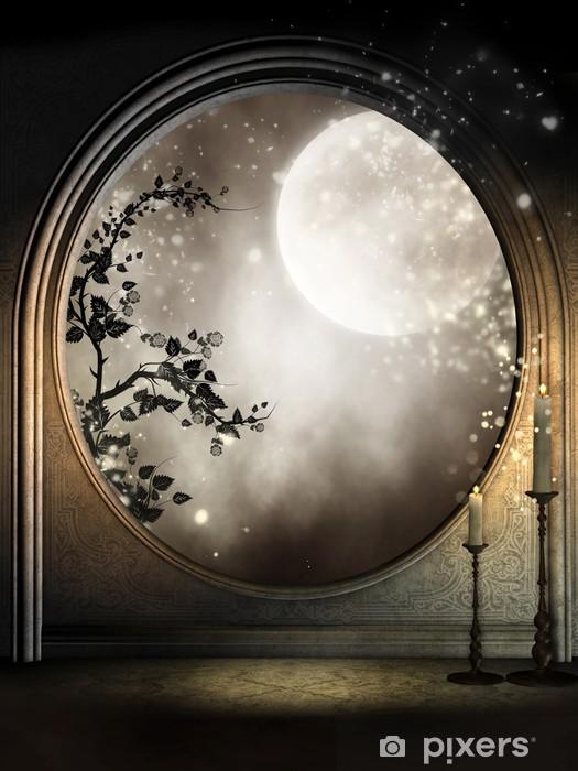 Fototapeta winylowa Okno fantazja z bluszczem i księżycem - iStaging