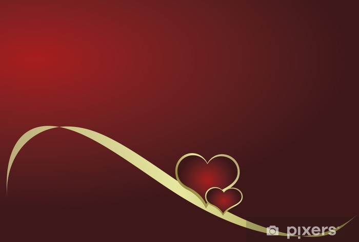 Naklejka Pixerstick Serce z wstążką na czerwonym tle - Święta międzynarodowe