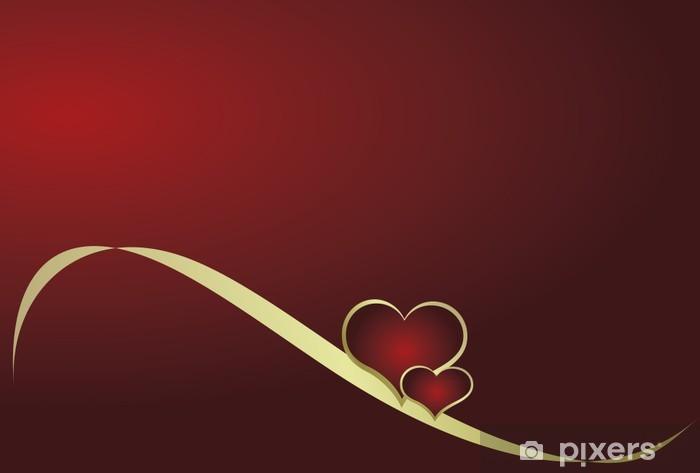 Papier peint vinyle Coeur avec un ruban sur un fond rouge - Fêtes internationales