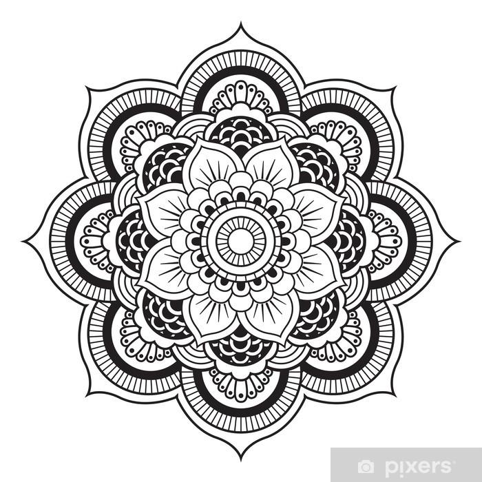 Vinyl Fotobehang Mandala. Rond Ornament Patroon - Muursticker