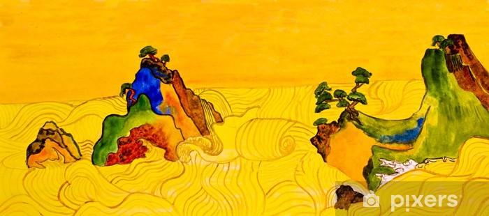Papier peint vinyle Main tableau peint dans les traditions de l'art japonais - Art et création