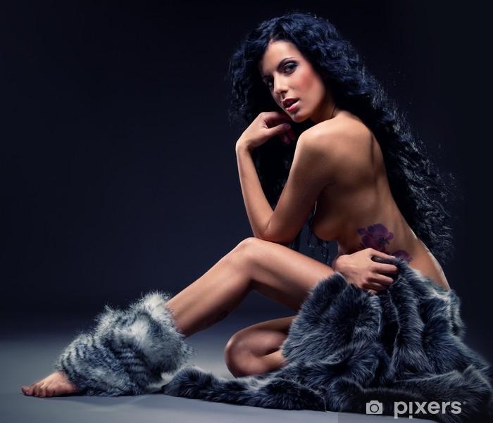 Gorgeous sexy brunette in fur posing indoors Pixerstick Sticker - Tattoos