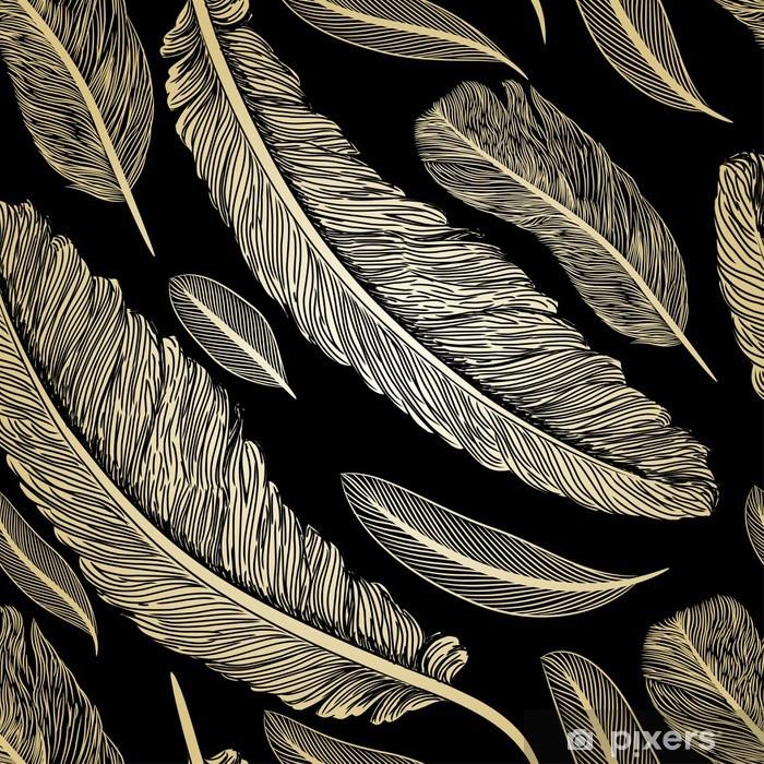 Poster Vintage seamless avec des plumes dessinées à la main - Autres sentiments
