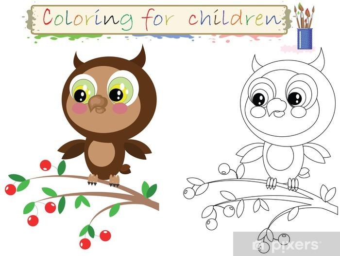 Vinilo Dibujos Para Colorear Para Niños Búho Lindo Divertido Pixerstick