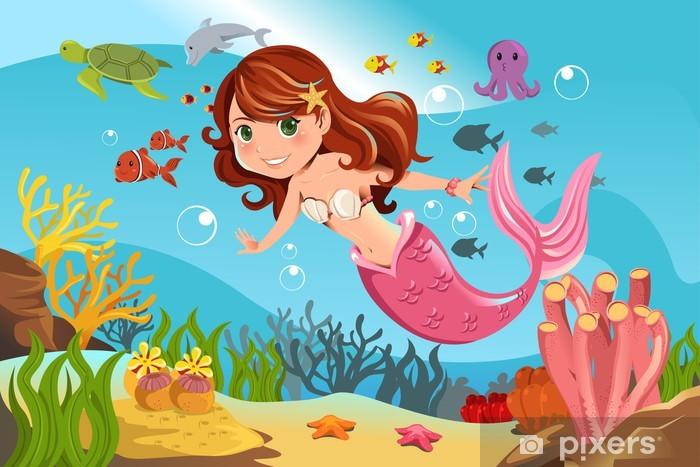 Fotomural Estándar Mermaid en el océano - Para chica