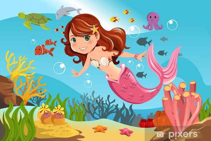 Mermaid in ocean Vinyl Wall Mural - Pupil