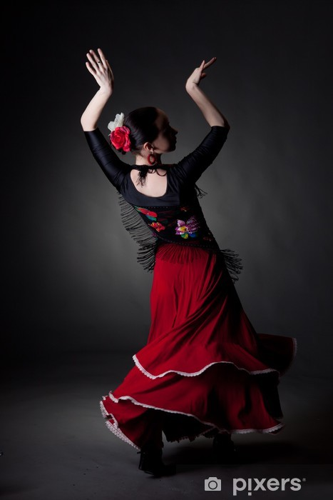 young woman dancing flamenco on black Pixerstick Sticker - Themes