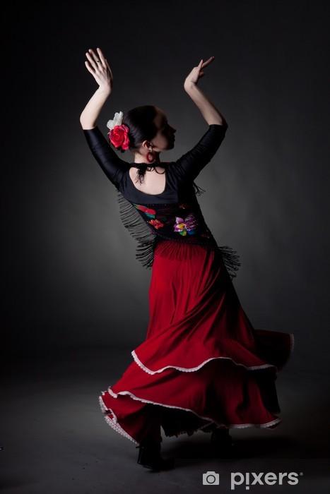 young woman dancing flamenco on black Vinyl Wall Mural - Themes