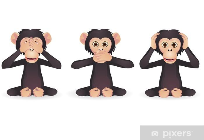 Fototapeta winylowa Nie słyszę nic złego, nie mówię nic złego, nie widzą zła (trzy mądre małpy) - Ssaki