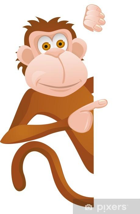 Nálepka Pixerstick Legrační opice s prázdnou znamení - Na cestě