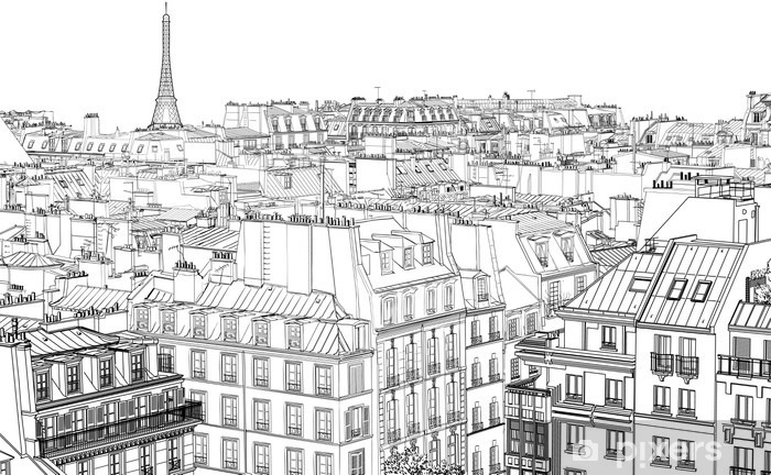 roofs in Paris Pixerstick Sticker - Styles