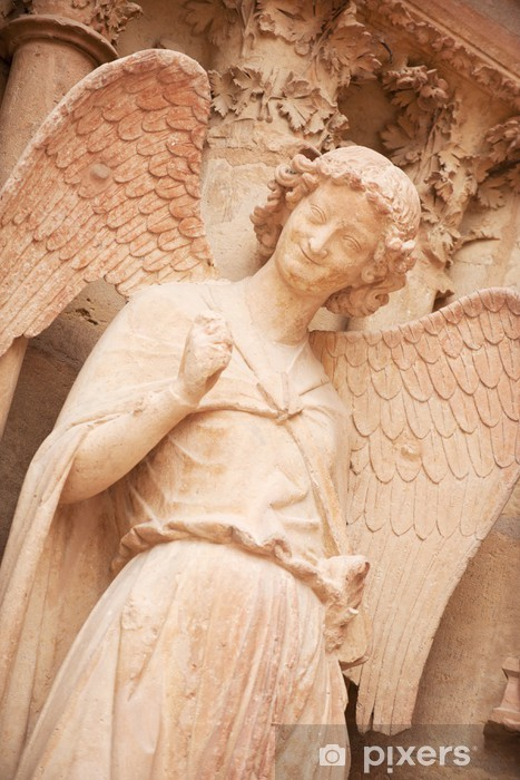 Famous smiling angel on facade of Reims Cathedral Vinyl Wall Mural - Europe
