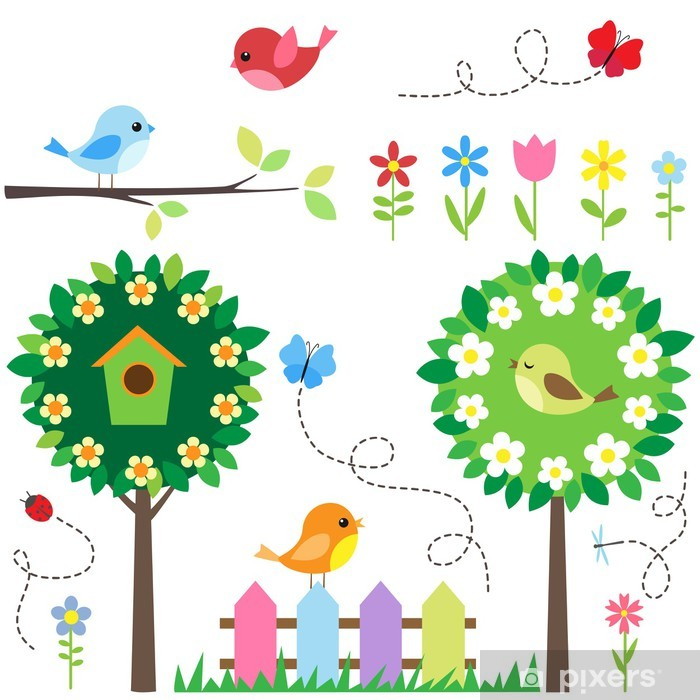 Garden set with birds, blooming trees, flowers and insects. Framed Poster - Themes