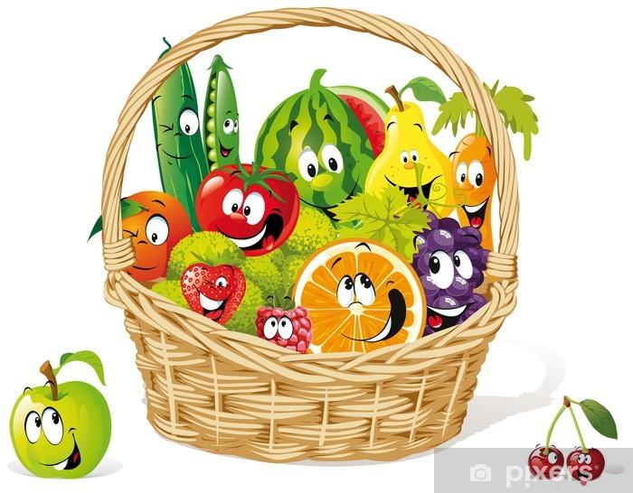 Mutlu Meyve Ve Sebze Sepeti Cikartmasi Pixerstick Pixers