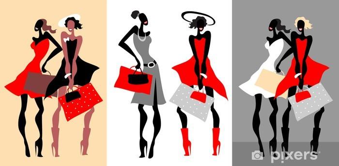 5b661daec3fc2 Vinilo Mujeres de la moda retro con bolsas. Ilustración vectorial.  Pixerstick