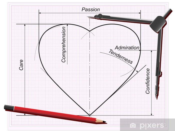 fotobehang het hart tekening (met delen die liefde te maken