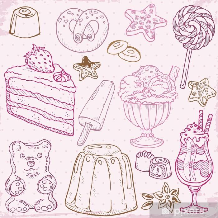 Plakát Sada dorty, moučníky a dezerty - ručně malovaná ve vektorovém - Sladkosti a dezerty