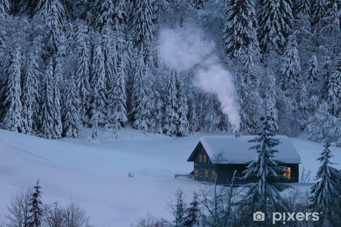 Sticker Pixerstick Chalet de montagne en hiver - Thèmes