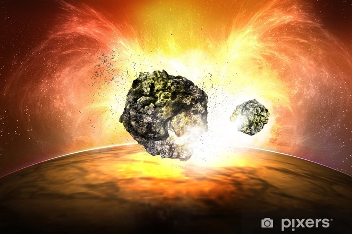 Naklejka Pixerstick Eksplozja meteorytu - Przestrzeń kosmiczna