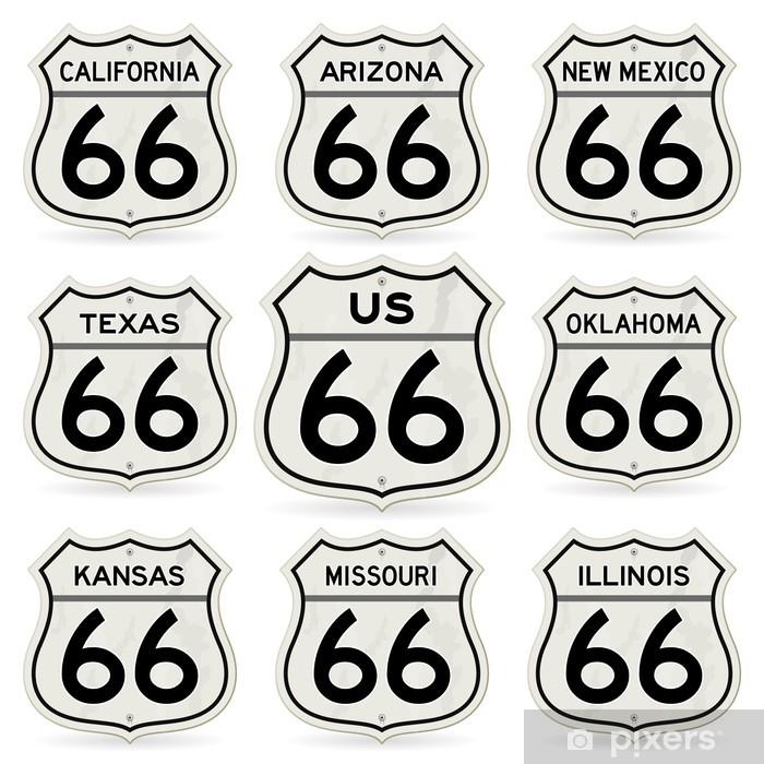 Vinyl Fotobehang Compleet Route 66 Borden Collection - Amerikaanse steden
